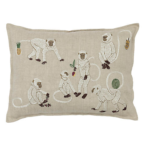 Monkey Business 12x16 Pillow, Natural Linen