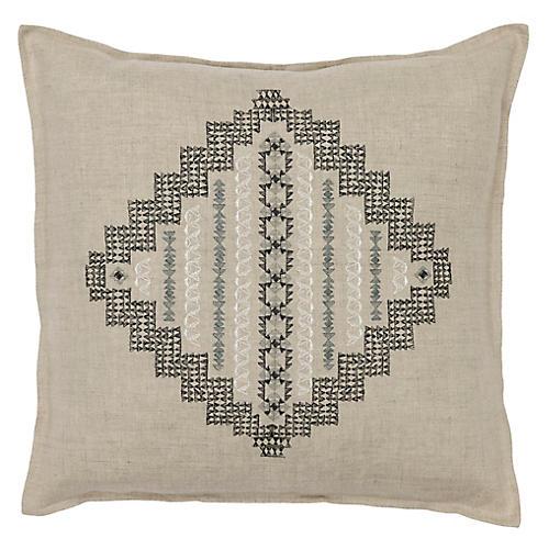 Intricate Diamond 16x16 Pillow, Natural Linen