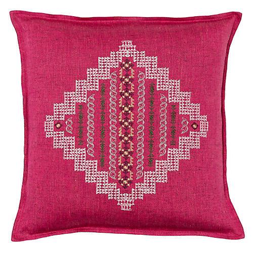 Intricate Diamond 16x16 Pillow, Fuchsia Linen