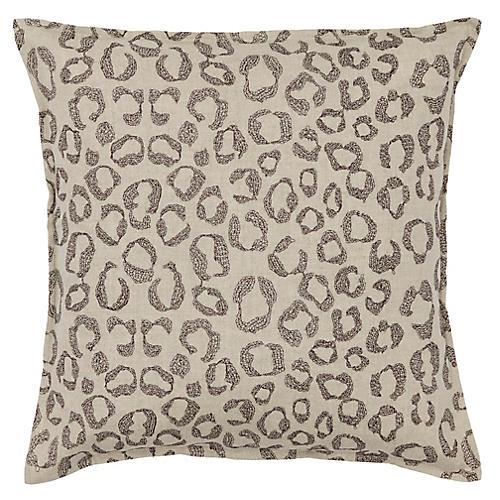 Leopard 16x16 Pillow, Natural Linen