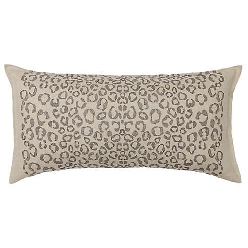 Leopard 32x16 Lumbar Pillow, Natural Linen