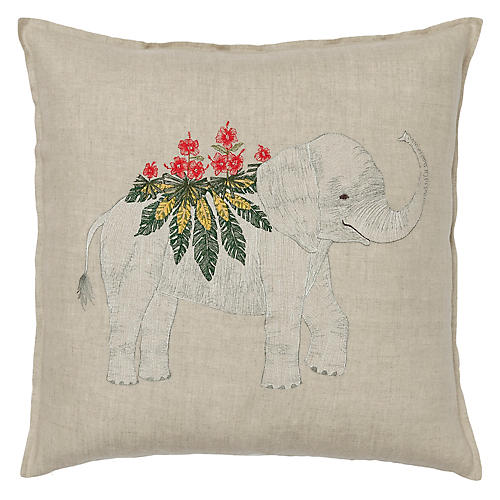 Benevolent Elephant 20x20 Pillow, Natural Linen