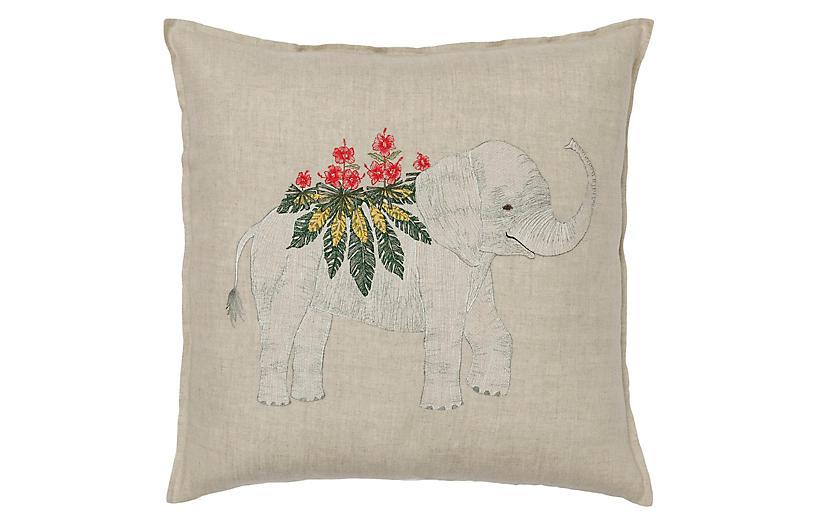 Benevolent Elephant 20x20 Pillow, Natural Linen