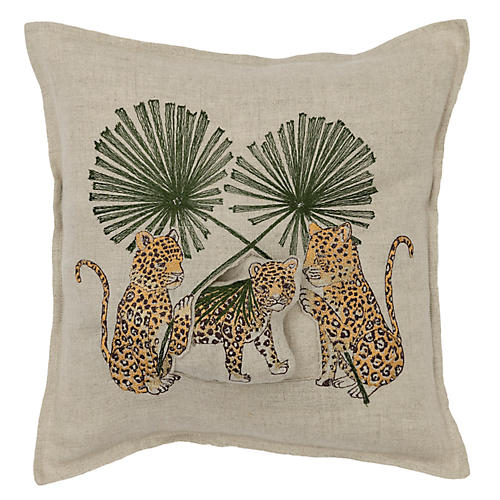 Jaguar 12x12 Pillow, Natural Linen