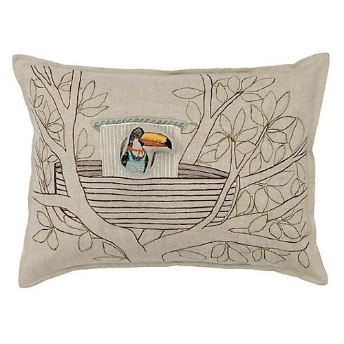 Toucan 16x12 Pillow, Natural Linen