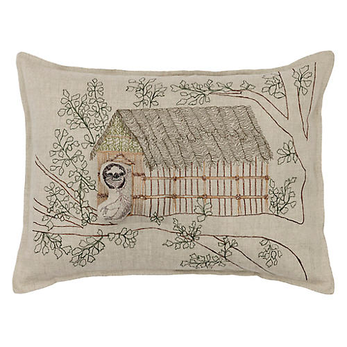 Sloth 16x12 Pillow, Natural Linen