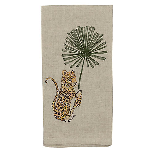 Jaguar with Palm Left Tea Towel, Natural/Multi