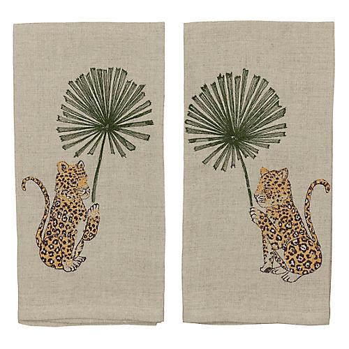 S/2 Jaguar Palm Tea Towels, Natural/Multi