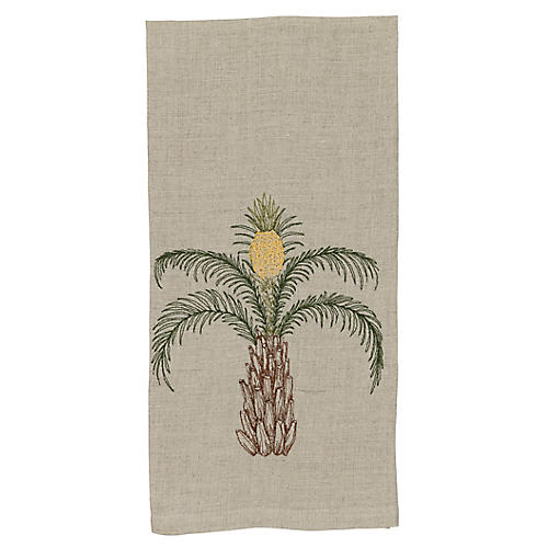 Pineapple Palm Tea Towel, Natural/Multi