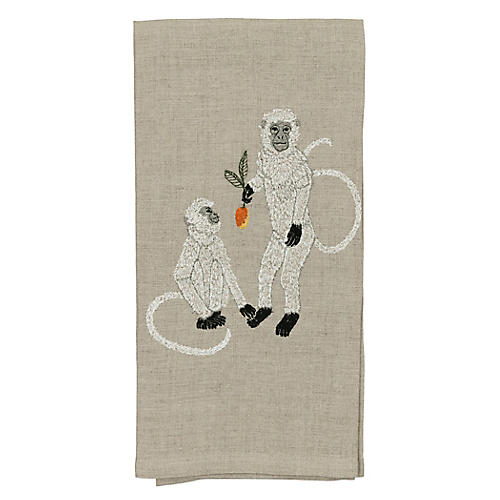 Monkeys with Mango Tea Towel, Natural/Multi