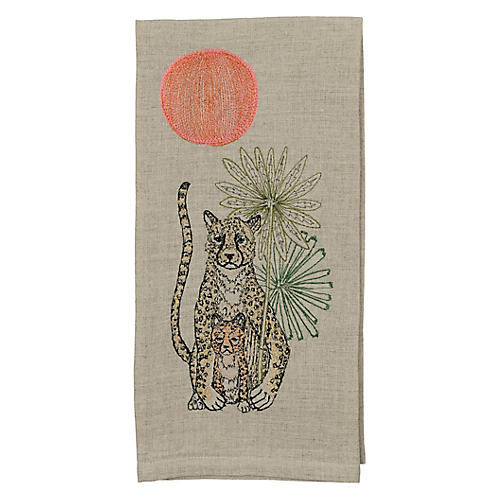 Cheetah Guardian Tea Towel, Natural/Multi
