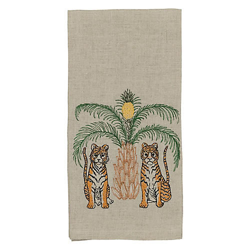 Tigers with Pineapple Tea Towel, Natural/Multi