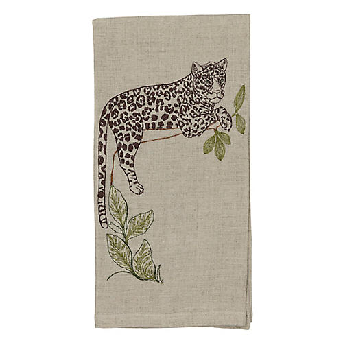 Jaguar Perch Tea Towel, Natural/Multi