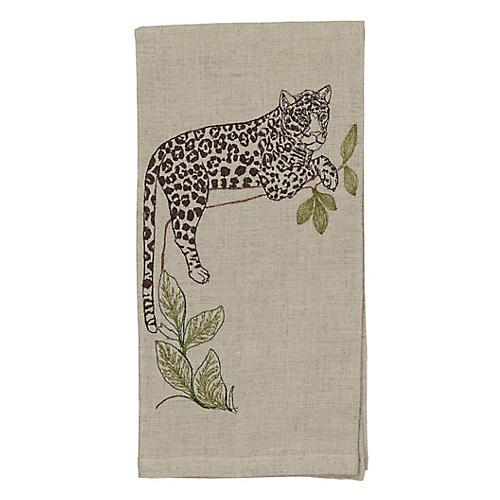Jaguar Perch Tea Towel, Natural/Multi