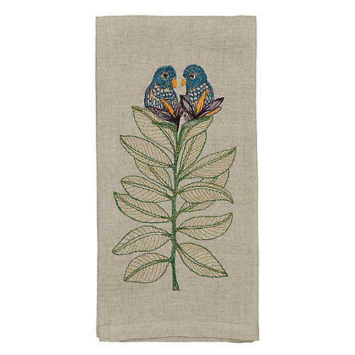Birds-of-Paradise Tea Towel, Natural/Multi