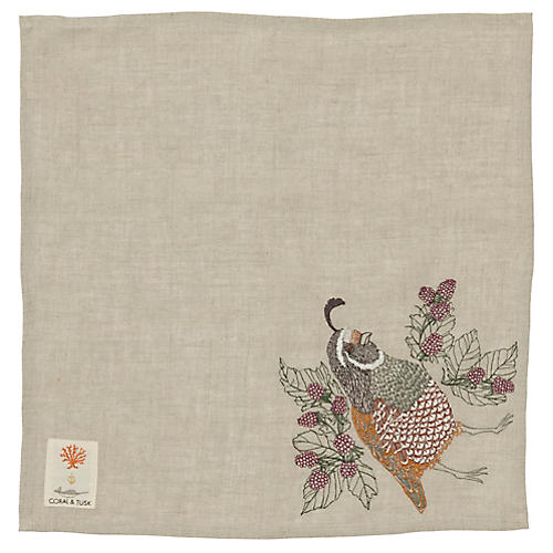 Quail Dinner Napkin, Natural/Multi