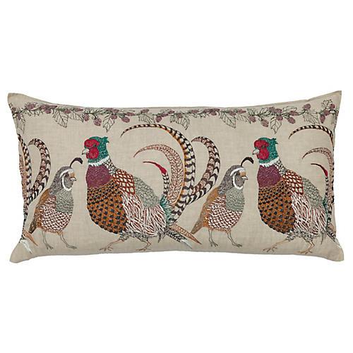 Pheasants & Quail 16x32 Lumbar Pillow, Natural Linen