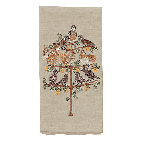 Partridge Tea Towel, Natural/Multi