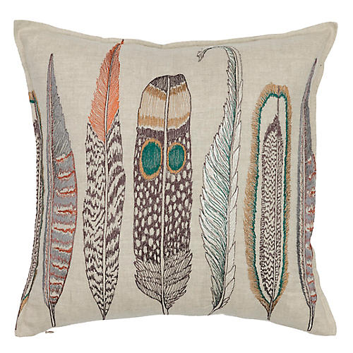 Large Feathers 16x16 Pillow, Natural Linen