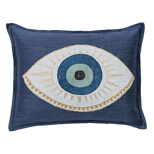 Evil Eye 12x16 Lumbar Pillow, Indigo Linen