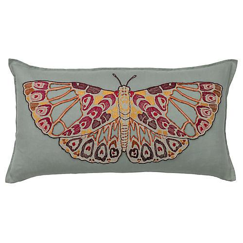 Butterfly 14x26 Lumbar Pillow, Sea Glass Linen