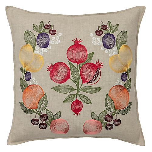 Fruits Garland 20x20 Pillow, Natural Linen