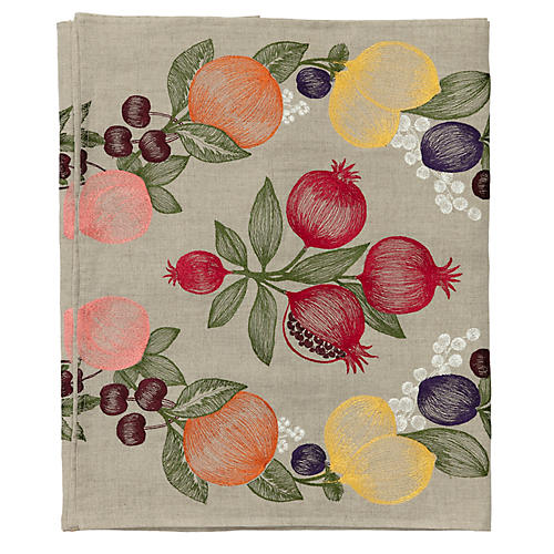 Fruits Garland Table Runner, Natural/Multi