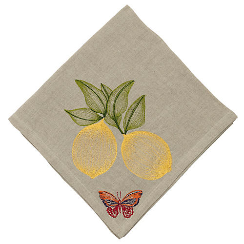 Lemon Dinner Napkin, Natural/Multi