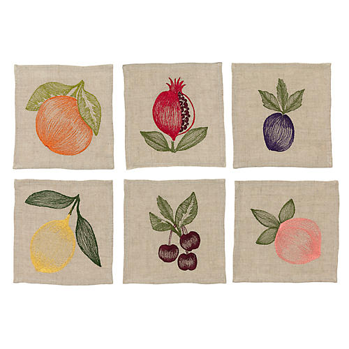 Asst. of 6 Fruits Cocktail Napkins, Natural/Multi
