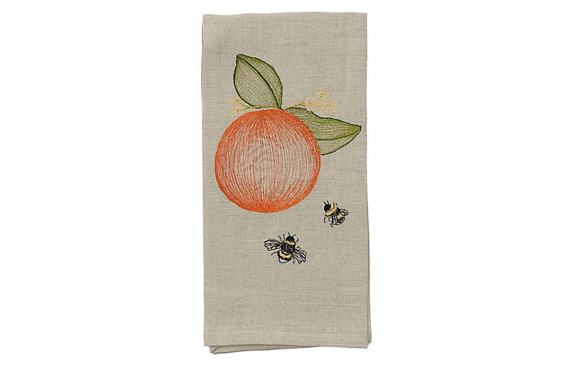 Orange & Bees Tea Towel, Natural/Multi