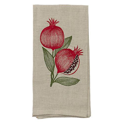 Pomegranate Tea Towel, Natural/Multi