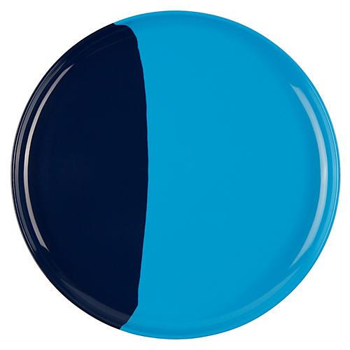 S/4 Melamine Side Plates, Light Blue/Navy