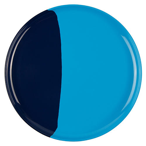 S/4 Melamine Side Plates, Light Blue/Navy