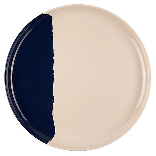 S/4 Melamine Dinner Plates, Ivory/Navy
