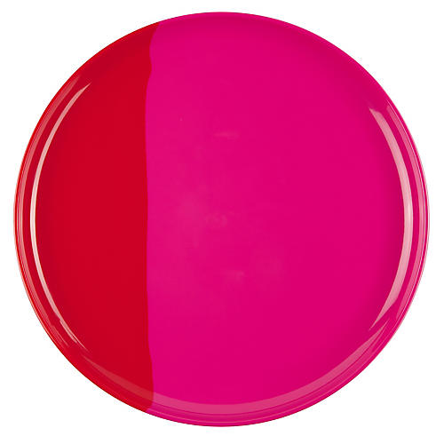 S/4 Melamine Dinner Plates, Fuchsia/Red