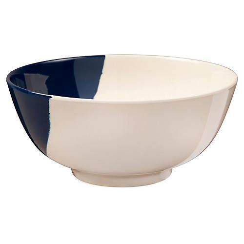 S/4 Melamine Bowls, Ivory/Navy
