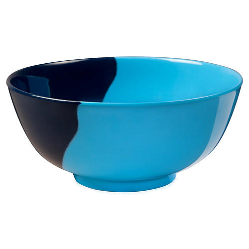 S/4 Melamine Bowls, Light Blue/Navy