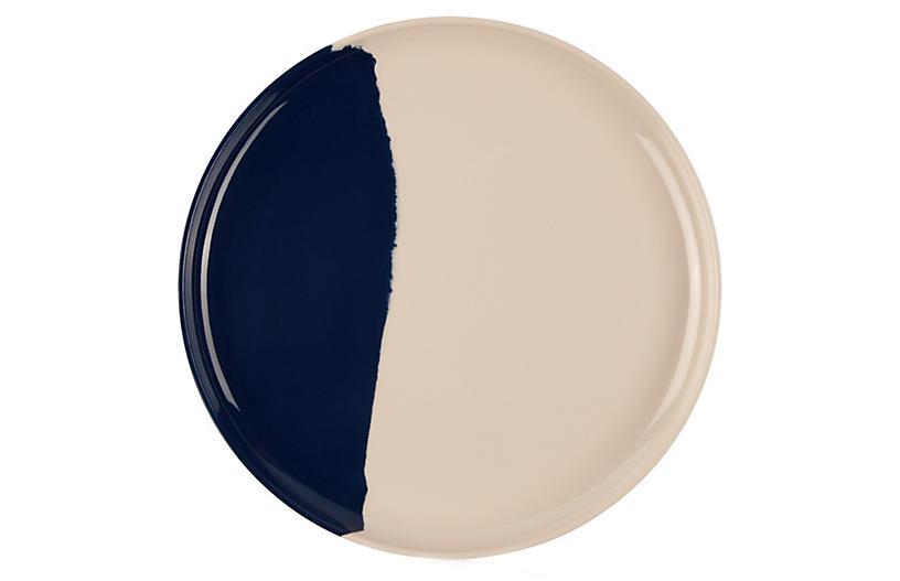 S/4 Melamine Side Plates, Ivory/Navy