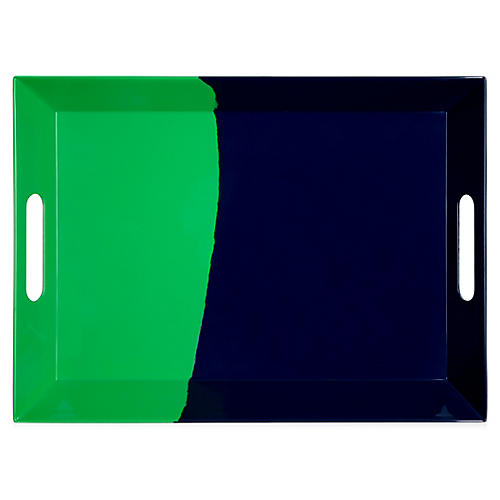 Melamine Tray, Green/Navy