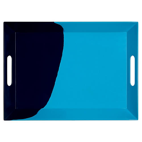 Melamine Tray, Light Blue/Navy