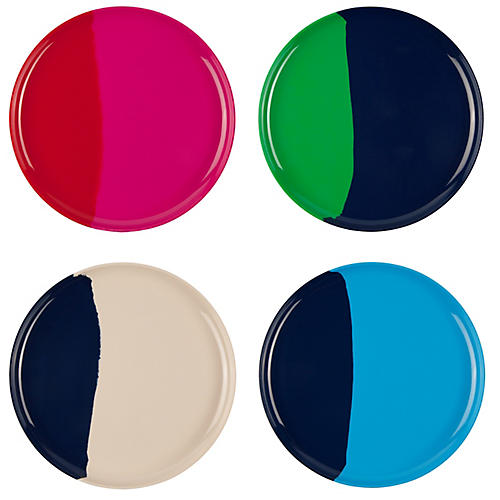 S/4 Melamine Side Plates, Blue/Multi