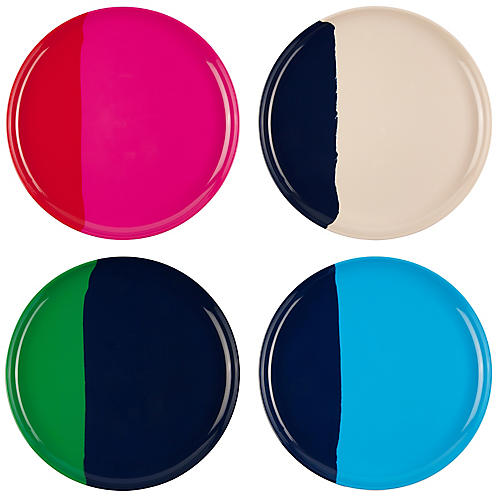S/4 Melamine Dinner Plates, Blue/Multi