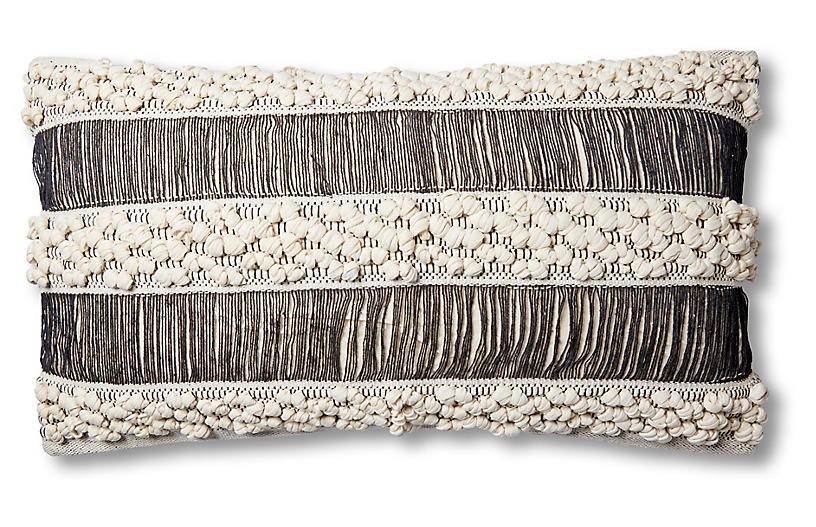 Serena Pillow, Ivory/Black