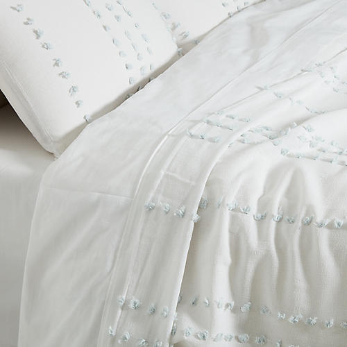 Poppy Blanket Set, White/Barely Blue