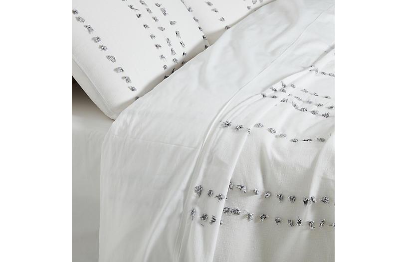 Poppy Blanket Set, White/Gray