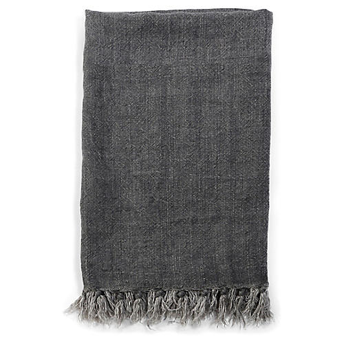 Montauk Linen Throw, Charcoal