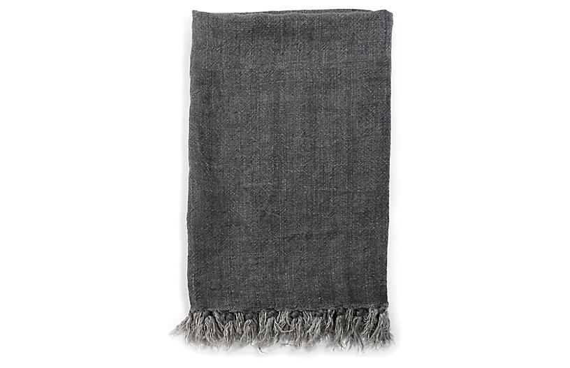 Montauk Linen Throw, Charcoal