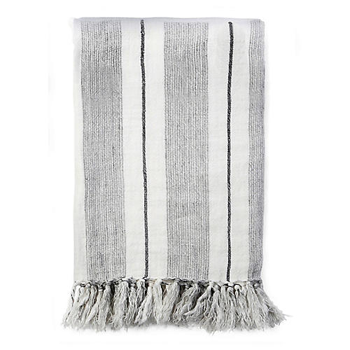 Laguna Linen Throw, Gray/Charcoal