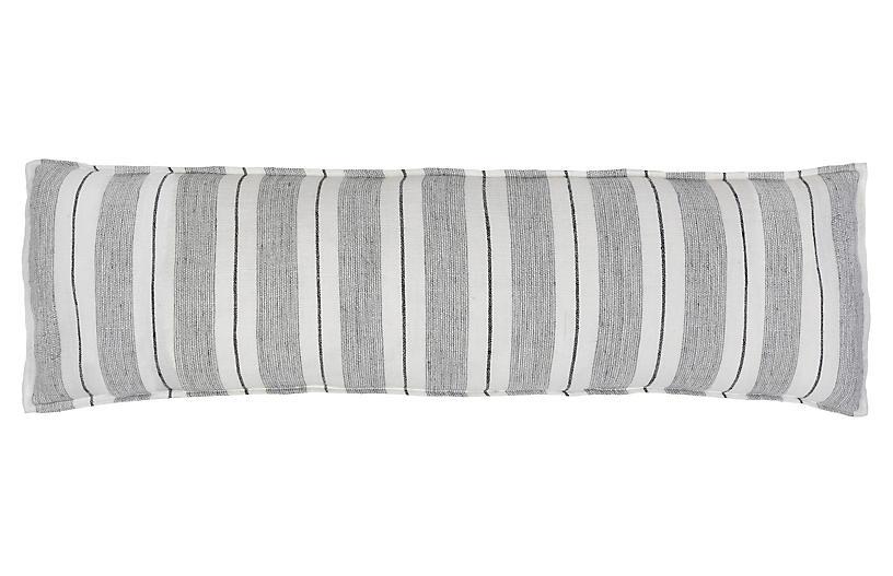 Laguna 18x60 Body Pillow, Gray/Charcoal Linen