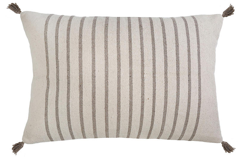 Morrison 28x36 Lumbar Pillow, Taupe Stripe